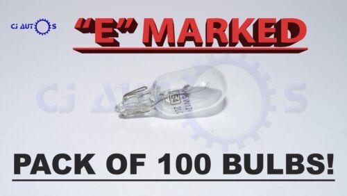 501 CAPLESS WEDGE T10 12V 5W CAR x 100 BULBS FRONT LAMP SIDE LIGHT BULB PUSH IN