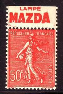 TIMBRE-PUB-LAMPE-MAZDA-50-c-semeuse-N-199-carnet-TTB