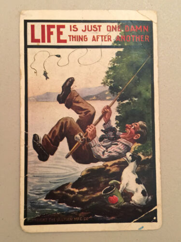 """Life is Just One Damn Thing After Another"" Comic Cartoon Vintage Postcard 1900s"