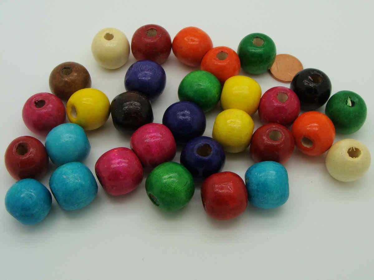 pcs Art Hobby À faire soi-même Fabrication De Bijoux Artisanat Bois Perles rondes 7 mm Mixed 250