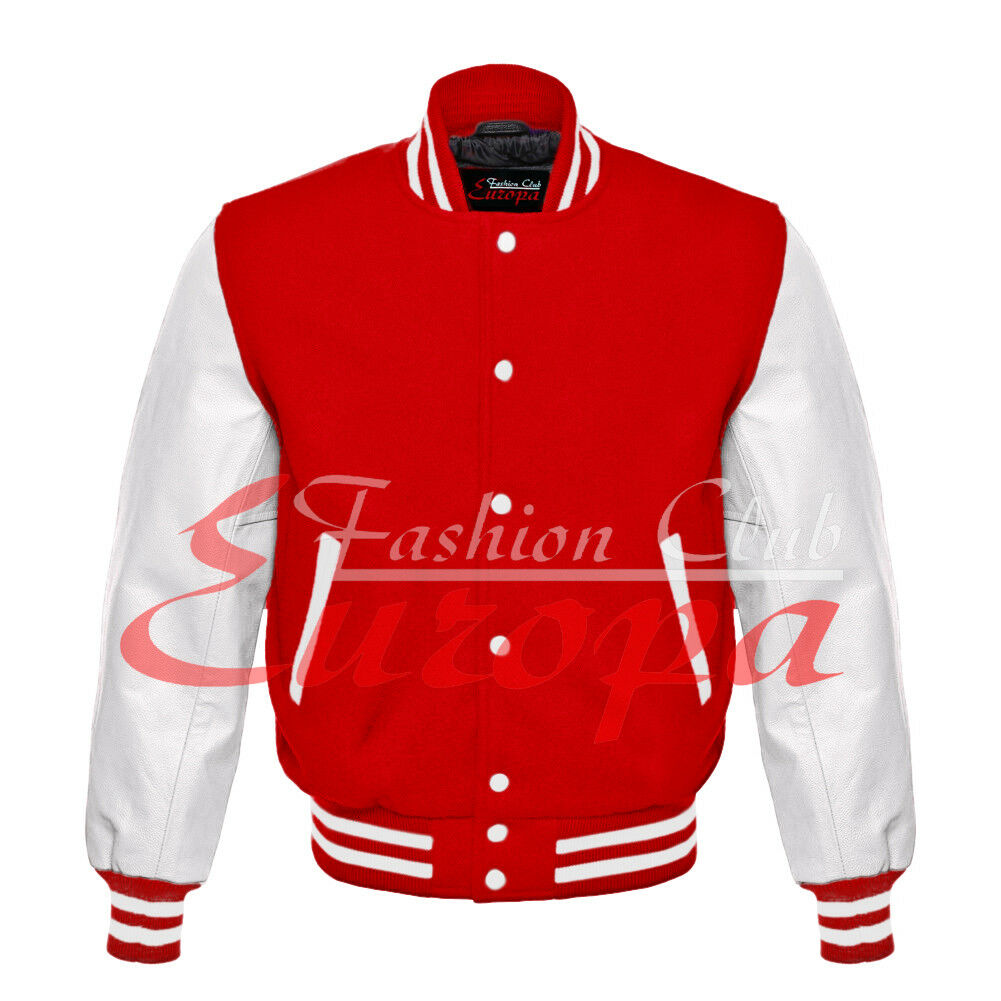 rot Varsity Letterman wolleBody And Weiß Real leder Sleeves