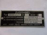 Josef Peitz Typenschild Schild Auflaufbremse ESPE Zuggabel Reform 62/3,7 T S26