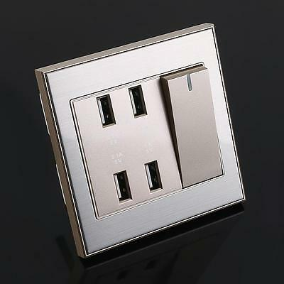 4-Port USB Wall Socket Charger AC Power Receptacle Outlet Plate Panel 2Colors