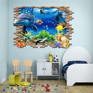 Image Is Loading 3D Ocean Dolphin Removable Vinyl Decal Wall Sticker