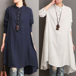 c97eaaeb84c7a Women Cotton Linen Long Sleeve Baggy Loose Blouse Tunic Long Tops ...