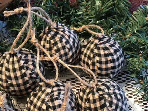 10 Primitive BLACK CHECK HOMESPUN Fabric RAG BALLS Christmas Ornaments farmhouse