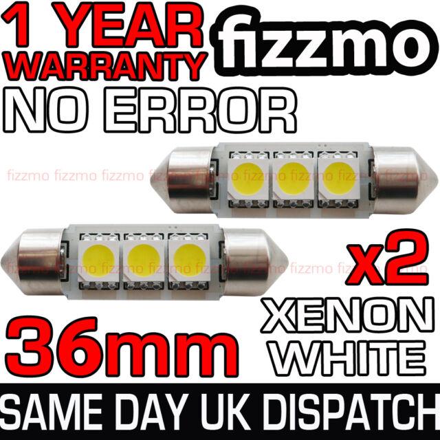 2x 3 SMD LED 36mm 239 272 CANBUS ERROR WHITE NUMBER PLATE LIGHT FESTOON BULB UK