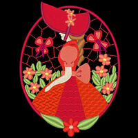 Sunbonnet Flower Ovals - 30 Machine Embroidery Designs (azeb)