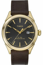 Timex TW2P77500 Men's, Chesapeake Brown Leather with gold & Black Dial Watch