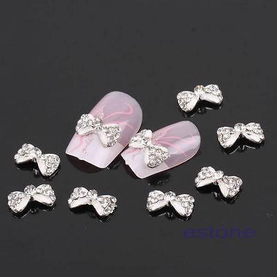 Lot 10pcs Glitter Crystal Bowknot Studs 3D Nail Art Tips Craft DIY Accessories