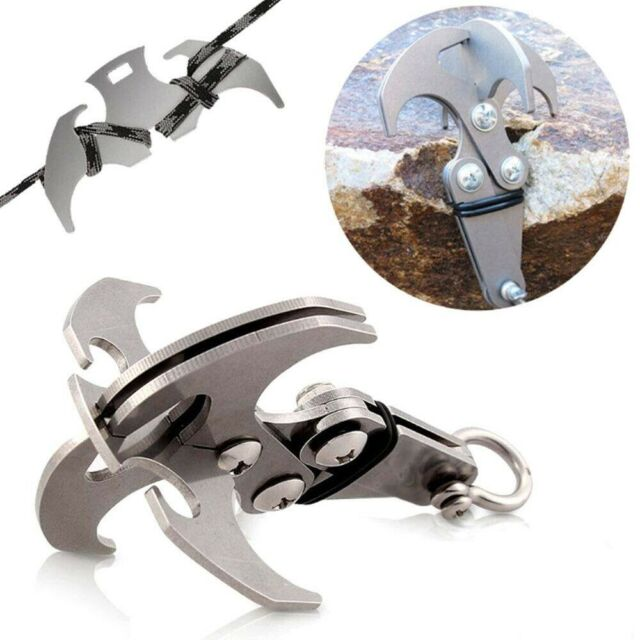US Gravity Hook Survival Folding Grappling Hook Climbing Claw Outdoor Carabiner