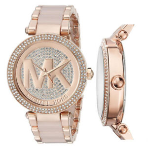 799f637bede7 New Michael Kors MK6176 Parker Rose Gold Blush Pave Crystal Logo ...