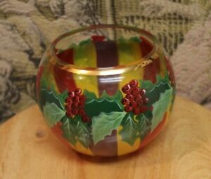 Details About Mackenzie Childs Holly Berries Large Gl Vase Retired