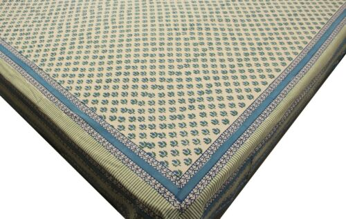 Cotton California King Bedspreads Paisley Block Print Blue Bedding Bed Sheets