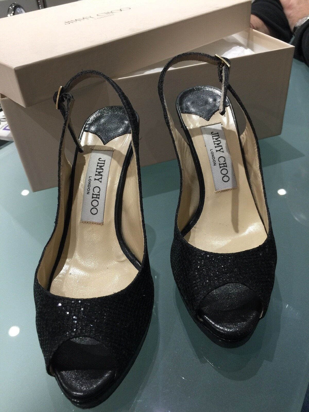 Jimmy Choo Designer Black Glitter shoes Heels Party Xmas Size 35 3