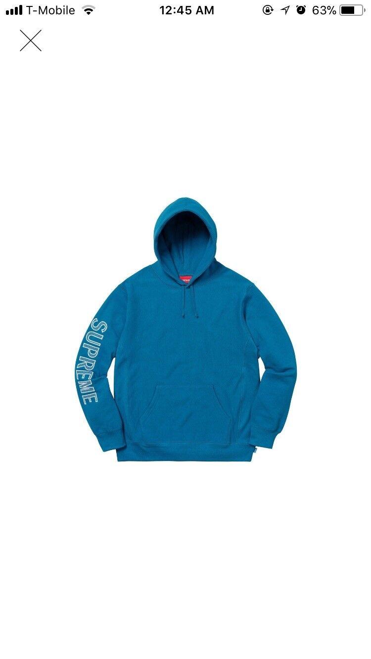 bluee Aqua SS18 Sweatshirt Hooded Embroidery Sleeve SUPREME