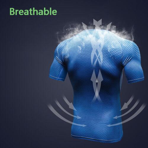 Mens Compression Tops Under Base Layer Skin Short Sleeve T Shirt  Fitness Sport
