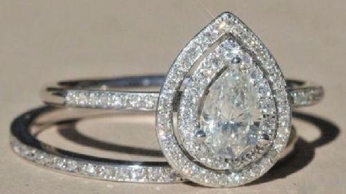 Certified 2.ct Halo Pear Diamond Engagement Wedding Ring Set Real 14K White gold