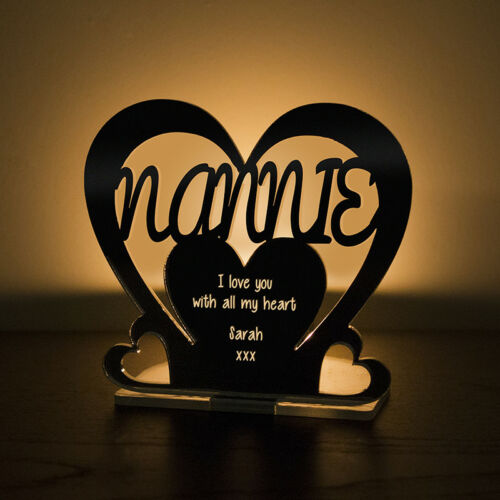 Personalised Tea Light Heart Candle Holder For NANNIE Birthday Mother/'s Day Gift