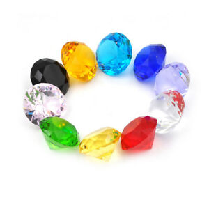 Glass Crystal Diamond Shape Paperweights Facet Jewel Wedding Decor Gift 30mm THU