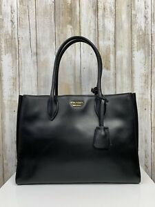 1648290f5f11 Image is loading Prada-Black-Calf-Leather-Bibliotheque-Double-Handle- Accordion-
