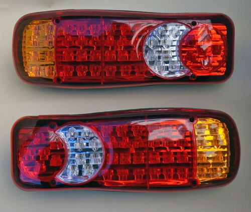 PAIR 12V LED REAR TAIL LIGHTS LAMP 5 FUNCTION TIPPER VAN TRUCK RECOVERY 46 LED