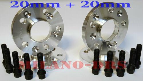 4 DISTANZIALI RUOTA 20mm+20mm ALFA ROMEO STELVIO Bullone CONICO BLACK+ANTIFURT