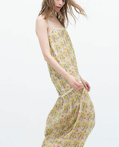 7dd472a1 Zara Yellow Strappy Printed Long Maxi Dress Size S - for sale online ...