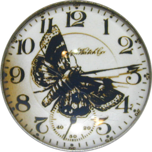 Crystal Dome Button Steampunk Clock /& Butterfly SP 29