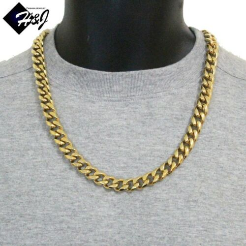 """24/""""MEN Stainless Steel HEAVY WIDE 12x5mm Gold Cuban Curb Chain Necklace Bracelet"""