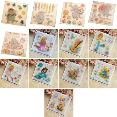Girl Clear Silicone Rubber Seal Stamp DIY Album Scrapbooking Photo Card Decor
