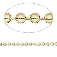 1319ch Bulk Goldtone Gold Plated Steel Ball Chain 2.4mm 50 Feet Spool