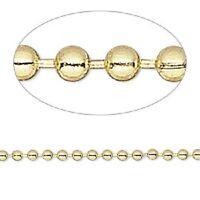 1319ch Bulk Goldtone Gold Plated Steel Ball Chain 2.4mm 50 Feet Spool