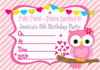PERSONALISED Girls Cute Owl Birthday Party Invitations with envelopes x 10