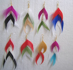 Multi Coloured Feather Earrings Choice Of Colours Clip On Option
