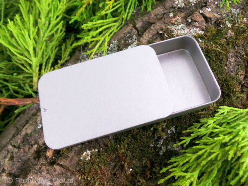 SILVER SLIDE TOP LID STORAGE TINS IDEAL FOR BUSHCRAFT SURVIVAL KITS CAMPING EDC