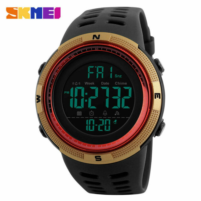 SKMEI Mens 1251 Black Gold Military Style Army Walking Sports Waterproof Watch
