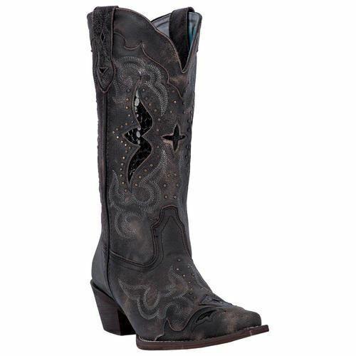 Laredo Women's Lucretia Western Cowboy Leather Boots Black Black Black Tan 52133 567f16