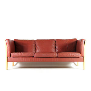 Retro Vintage Danish Stouby Leather 3 Seat Seater Sofa Mogensen 50s 60s 70s Oak