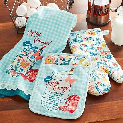 Pioneer Woman Bandana Oven Mitt /& Pot Holder Two Piece Kitchen Set NWT
