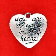 2 x Tibetan Silver 'You Are Always in My Heart' Love Heart Charm Pendants