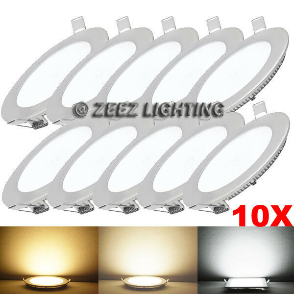 10X 18W 8  Round Cool White LED Recessed Ceiling Panel Down Light Bulb Slim Lamp