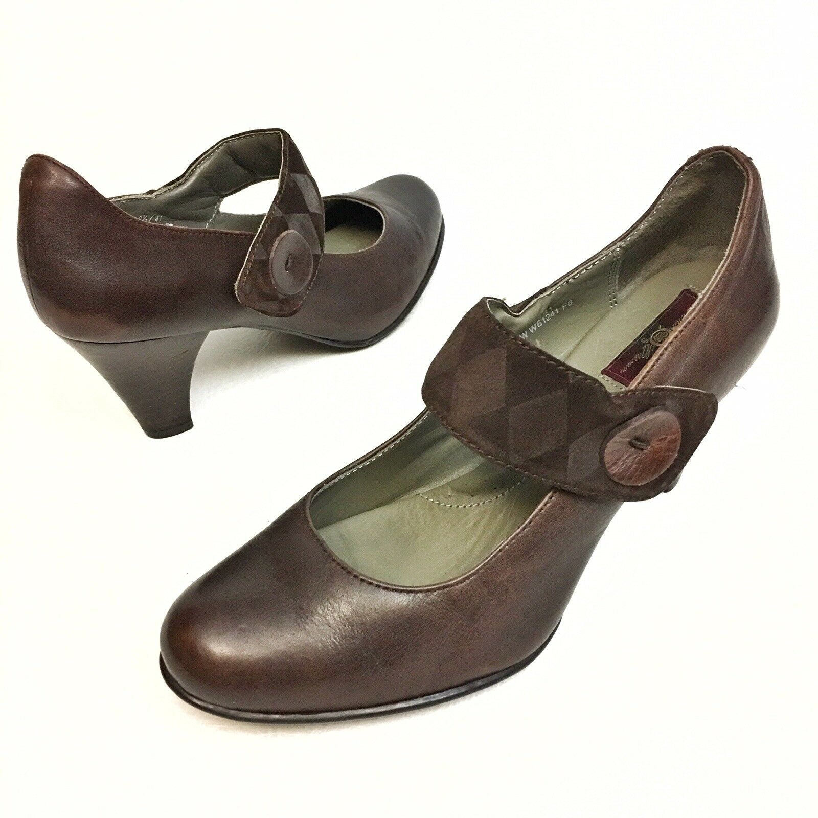 Born Crown Women's Heels Mary Janes Sz 9.5 Eu41 Brown Leather Slip-On Pumps EUC