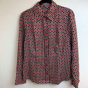 Ann-Taylor-Womens-Button-Down-Shirt-Red-Black-Geometric-Long-Sleeve-100-Silk-6