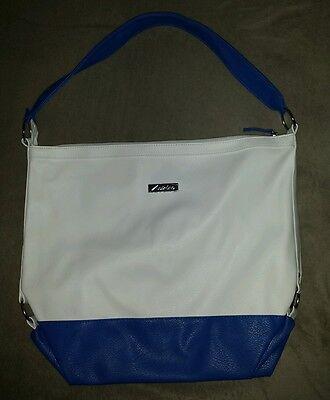 NEU ANISTON schicke Leder - Tasche Schultertasche Shoppertasche / Cremeweiß Blau