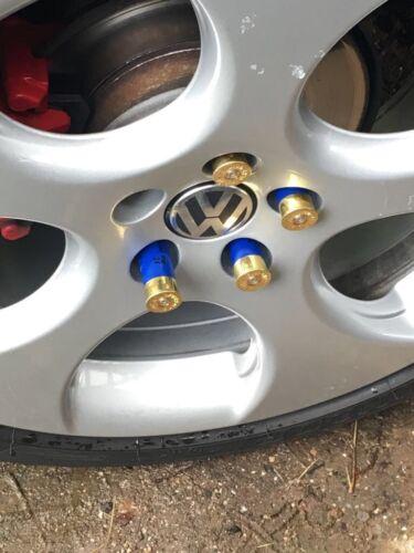 25 Lug NUTS rey azul//oro tuning perdigones casquillos cubierta tornillos