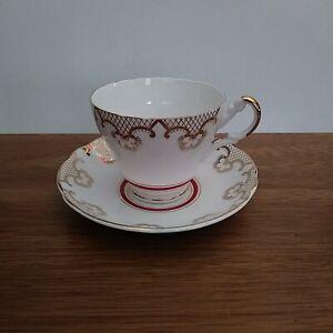 Vintage Regency Gold Red White Bone China Teacup & Saucer made in England