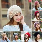 Winter Warm Rabbit Fur Wool Women flower beret Hat Cap Beanie Crochet Ski Cap