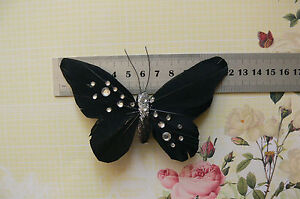 BLACK-amp-SILVER-Sparkle-BUTTERFLY-12x7cm-with-3-2cm-placement-ClipTouchOf-Nature