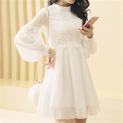 2016 Autumn Korean Woman Fashion Long Sleeve Lace Stitching Chiffon Mini Dress